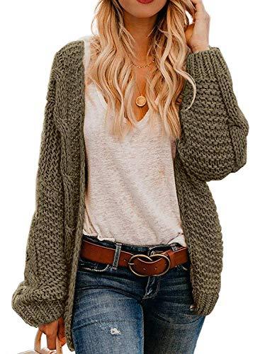 Dearlove Womens Juniors Cute Cardigan Sweaters Long Sleeve Open Front Chunky Knit Autumn Warm Outwear Coat Olive S