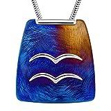 LillyMarie Damas Cadena del Cuello Plata Colgante de Aleación Titanio Signo Zodiaco Acuario Azul Longitud-ajustable Caja la Joyería Pequeños Regalos