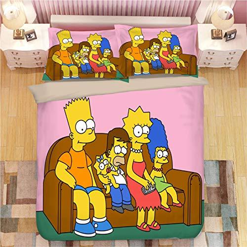 Funda Nórdica 150X190, Los Simpsons Impresión Digital 3D Colchas Cama 90 Juveniles, Upgrade Poliéster Microfibra Conjuntos De Ropa De Cama Con Cierre De Cremallera, Para Muchachos Chicas (135X200Cm)