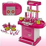 TikTakToo Kinderküche Puppenküche im Koffer mit Zubehör - Küche mit Licht und Sound zum mitnehmen für Kinder Spielküche Spielzeug Rosa Mädchen