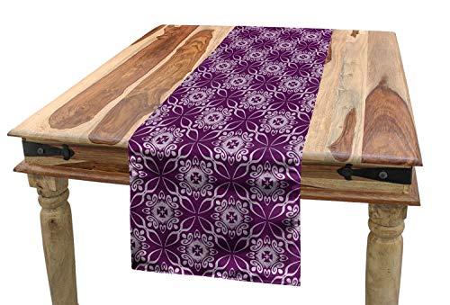 ABAKUHAUS orientalisch Tischläufer, Blumenfliesen-lila Töne, Esszimmer Küche Rechteckiger Dekorativer Tischläufer, 40 x 180 cm, Blasses Violett und Lila