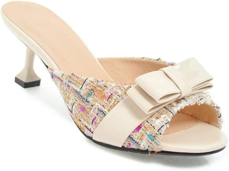 Female Patchwork shoes for Women high Heel Bow Slides peep Toe Slippers Medium Heels Slides