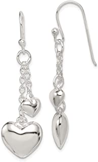 TWO of HEARTS Rosarita and Sterling Silver Heart Shaped Kinetic Dangle Earrings