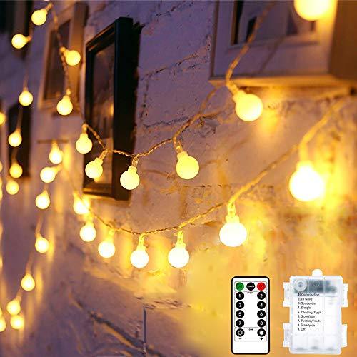 Guirnaldas Luces Exterior y Interior, Ventdest 10m 100 LED Impermeable Cadena de Luces Decorativas para Jardin, Habitacion, Boda, Fiestas, Navidad Decoración (Blanco Cálido 8 Modos)