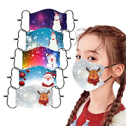 Funny Christmas Face_Masks for Kids,5 Pc Reusable Washable Face Bandanas for Xmas Party Supplies