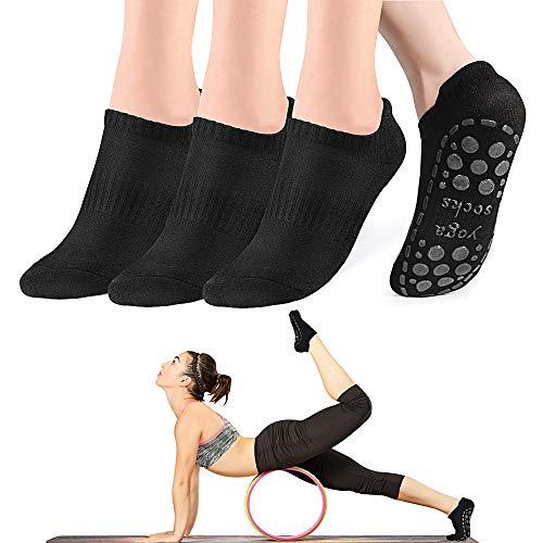 GOAMZ Yoga Socken rutschfeste Sportsocken für Damen mit Gummisohlen Atmungsaktivität ideal für Yoga Tanz Pilates Fitness von Größe 36 bis 41(3...
