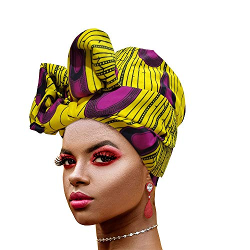 Novarena Long Kente Ankara African Print Headwraps for Women Hair Tie Scarf Turbans Dashiki Head wraps (Yellow Purple Peacock)