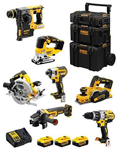 DeWALT Kit DWK701 (DCD996 + DCH273 + DCG405 + DCF887 + DCS334 + DCS570 + DCP580 + 3 Baterías de 5,0 Ah + Cargador + Carro 3en1)