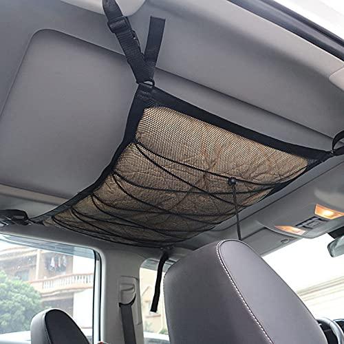 KKmoon Red Almacenamiento Universal para Techo de Coche,Red de Carga con Cremallera Organizador 80x55cm para Jeep Van SUV
