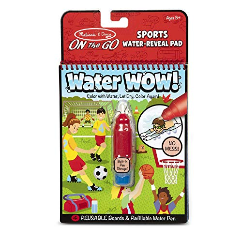 Melissa & Doug On The Go Water Wow! Sports Activity Pad (The Original Reusable Water-Reveal Coloring Book, Refillable Water Pen, Great Gift for Girls and Boys - Best for 3, 4, 5, 6, and 7 Year Olds)