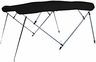 7 oz Black 4 Bow Square Tube Boat Bimini TOP with Running Light Cutout Sunshade for BASS Tracker/Tracker/SUNTRACKER Party Barge 27 W/O Hard TOP 2005-2006