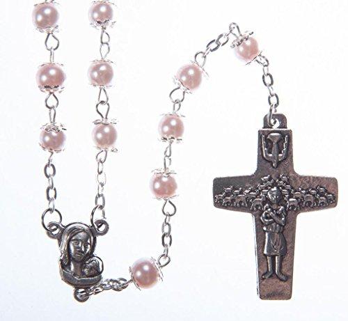 Rosario rosa perla perlas Bonito regalo de primera comunión. Cuentas del Papa Francisco.