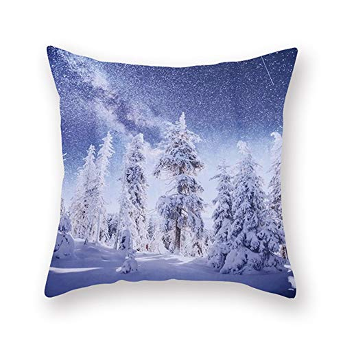 Cushion Covers Decorative Throw Pillow Cover Winter Pine Square Velvet Soft Throw Pillow Case Sofa Car Pillowcase for Living Room Couch Bedroom Pillowcases Decor Pillowcase+core,45x45cm T7839