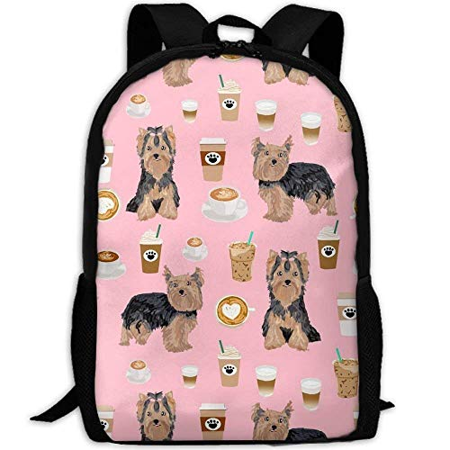 Homebe Zaino da Viaggio,Borsa Viaggio Yorkshire Terrier Coffee School Bagaglio a Mano BookBag For College Travel Hiking Fit Laptop Water Resistant