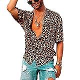 Loalirando - Camisa de hombre de manga corta y ajustada, para hombre, estampado de leopardo (S-3XL) Leopardata XXL