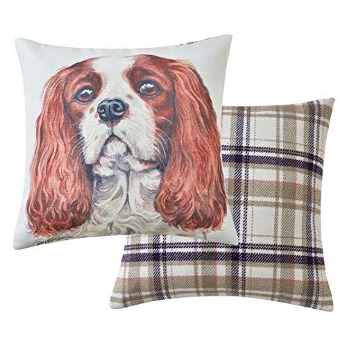 Viceni Cavalier King Charles - Cuscino imbottito per cani, 43 x 43 cm, multicolore, 43 x 43 cm