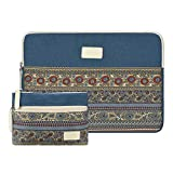 CASE STAR 14-15 Inch Laptop Sleeve Bohemian Canvas Bag Compatible 15 Inch New MacBook Pro with Touch Bar A1707 | A1990 14 Inch ThinkPad Laptop with Small Bag Case (Lake Blue)