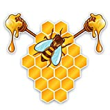 2 Stück Autoaufkleber 15.9CM * 14.2CM Bienen Essen honigfarbene Aufkleber Auto Fenster Auto Styling Wasserdichtes Zubehör