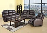 Ainehome Recliner Sofa Bonded Leather Set 3 PCS Motion Sofa Loveseat Recliner Couch Manual Reclining Chair with Drop Down Table for Living Room (Brown,3 Piece Set)