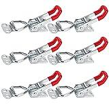 wishing Metall Hebel Verschluss GH-4001, 6 Stück 150kg / 330lbsSpannverschluss Edelstahl Kniehebelspanner Einstellbare Hebelverschluss Haken Tischverbinder