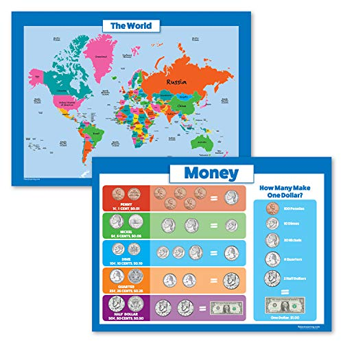 """2 Pack - World Map for Kids & Money Poster Set - Map of The World & Money Wall Charts (Laminated, 18"""" x 24"""")"""