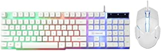 ZHHk Keyboard& Mouse USB 180 Keys Backlight Mechanical Wired Gaming Keyboard Mouse Set For PC keyboard (Color : White)