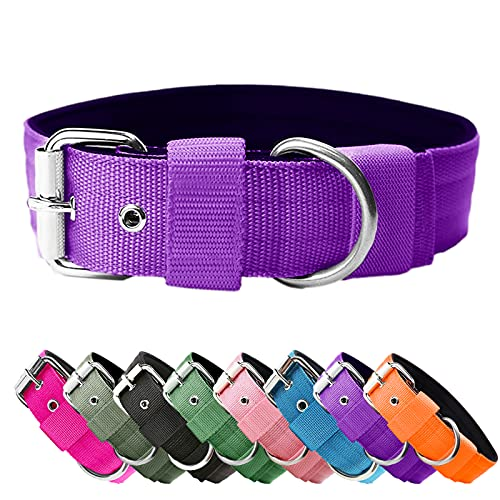 Heavy Duty Tactical Dog Collar - 1.5' Width Military Durable Thick Nylon with Adjustable Metal D Ring & Buckle Working Training K9 Collar for Medium Large Dogs (Purple, S(14'-17'))