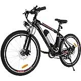 BIKFUN Vélo électrique VTT, 26' E-Bike avec Batterie Lithium 36V 8Ah /12.5Ah Moteur 250W Shimano 21 Vitesses (Classique Noir)