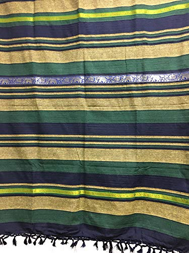 Rajasthan Cottage Indian Classic Ribbed Cotton Elephant Zari Brocade Border Coverlet Bedspread (Green, Queen Size)