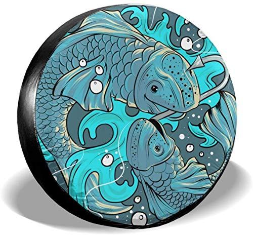 MODORSAN Fishing Koi - Cubierta de neumático de Rueda de Repuesto de poliéster, Cubiertas de Rueda universales para Jeep, Remolque, RV, SUV, camión, Accesorios, 15 Pulgadas