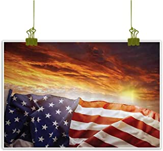 Art Print/Poster Oil Paintings Reproduction, Flag in Front of Sunset Sky with Horizon Light America Union Idyllic Photo Art Home Wall Decorations - 23
