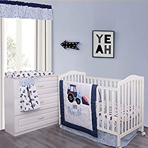 MP+NJ Blue White Truck Crib Bedding Set for Boys – 100% Cotton 6 Piece Toddler Nursery Set – Quilt, Fitted Sheet, Bed Skirt, Diaper Stacker, Changed Pad Cover and Valance