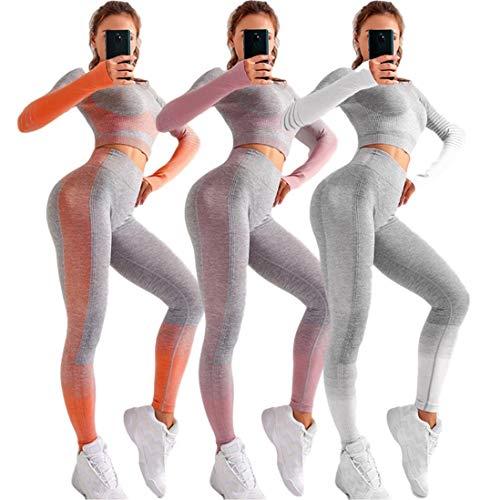 Conjunto Yoga 2 Piezas para Mujer, Conjunto Deportivo Pantalones de Yoga de Cintura Alta Súper Elásticos sin Costuras Conjunto de Ropa Deportiva de Manga Larga sin Costuras (Gris, S)