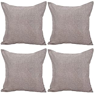 Deconovo Soft Faux Linen Home Decorative Hand Made Pillowcase Cushion Cover With Invisible Zipper 40x40cm,Linen,Set of 4