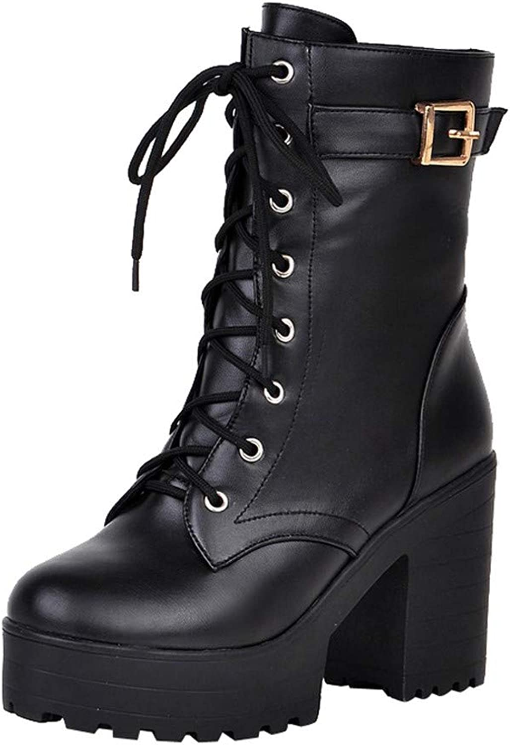 Fullfun Fashion Spring Autumn Platform Ankle Boots Women Lace Up Thick Heel Martin Boots Ladies Worker Boots Black