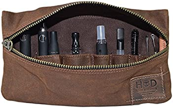 Hide & Drink, Waxed Canvas Vape Pen Accessories Kit Pouch Holder, Secure Fit, Cord Storage G Pen Soft Travel Bag Handmade Includes 101 Year Warranty :: Honey Bourbon (Accessories not included)