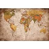 GREAT ART Mural De Pared – Viejo Mapa Del Mundo – Mirada Usada Globo Continentes Atlas Retro Vieja Escuela Vintage Terráqueo Geografía Foto Papel Tapiz Decoración 210 x 140 cm