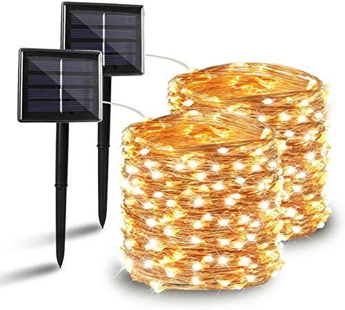Cadena de luces LED solares, [2 unidades] 10 m 100 LED ventana exterior interior solar cadena de luz blanco cálido batería 8 modos con mando a distancia para fiestas bodas cumpleaños interiores