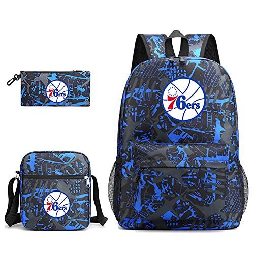 AGLT 76ers Basketball Fan Mochilas Juego de 3 Piezas, Mochila Escolar para Estudiantes, Bolsa de papelería para niños, Bolso para Hombres y Mujeres, Impermeable de Alta Capacidad,J6