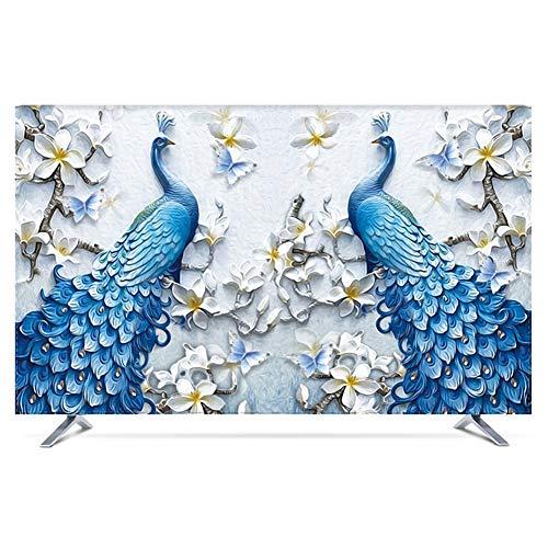 catch-L Flor De Durazno del Pavo Real Impresión Tela Cubierta De TV Cubierta De Polvo Cubierta Antipolvo (Color : Peacock, Size : 40inch)