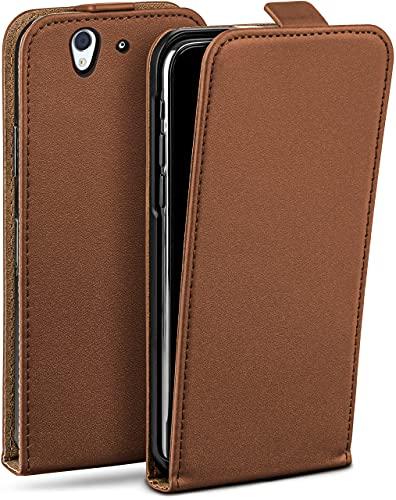 moex Flip Hülle für Sony Xperia Z - Hülle klappbar, 360 Grad Klapphülle aus Vegan Leder, Handytasche mit vertikaler Klappe, magnetisch - Braun