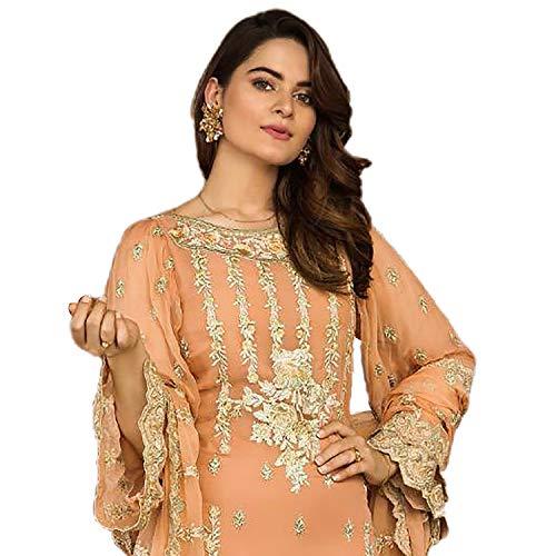 Miss Ethnik Women's Orange Faux Georgette Semi Stitched Top With Unstitched Santoon Bottom and Nazmin Dupatta Embroidered Flared Top Dress Material (Pakistani Salwar Suit) (1047-Orange)