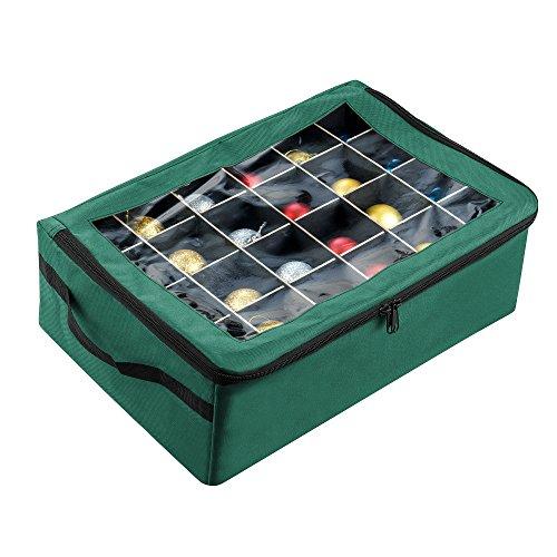 Tiny Tim Totes 83-DT5575 Premium | Caja de almacenamiento para 48 adornos navideños | verde, estuche