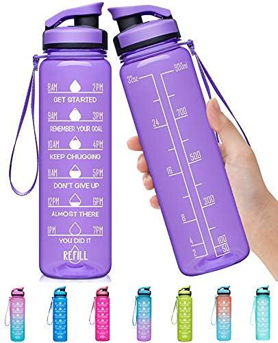 Botella de agua grande de 32 onzas con marcador de tiempo motivacional y colador extraíble, flujo rápido, sin BPA, no tóxico para fitness, gimnasio y deportes al aire libre