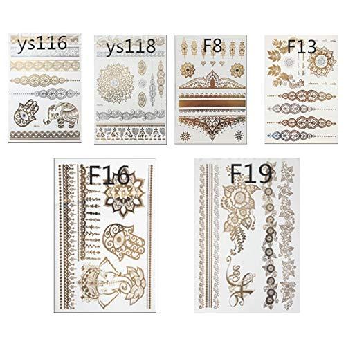 Temporary Henna Tattoos Kit, Tiction 6 Sheets Gold Metallic Tattoos Henna Tattoo Stickers Boho Temporary Tattoos for Women Men Adults & Kids, Flash Tattoo Face Body Tattoo Stickers