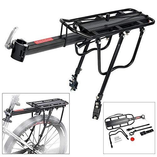 YaeTact 110 Lbs Capacity Aluminum Alloy Bicycle Rear Rack Adjustable Pannier Carrier Bike Luggage Cargo Rack Bicycle Back Rack