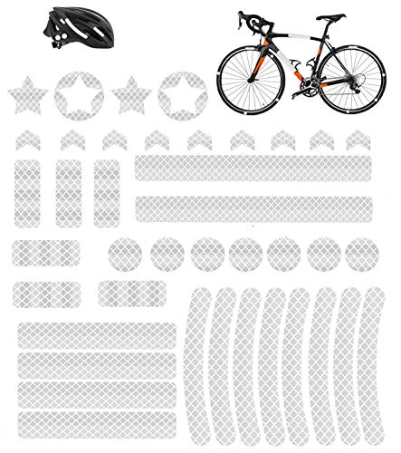 HIQE-FL 42 Stück Reflektoren Aufkleber Sticker,Reflektor Sticker Fahrrad,Reflektor Band,Reflektierende Aufkleber,Reflexfolie Selbstklebend,für Kinderwagen Fahrrad und helme (Silber)