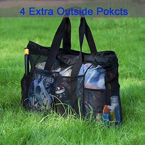 Extra Large Beach Bags and Totes / 30' XXL Mesh Tote Bag with Pockets & Zipper, Heavy Duty, Lightweight & Foldable - Oversized Carry Tote Bag for Towels, Perfect to Carry all items for Your Family