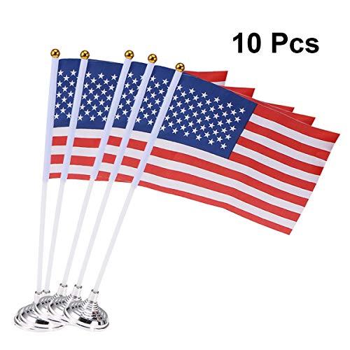 STOBOK 10pcs Banderas de Escritorio del Reino Unido Mini Banderas de Gran bretaña de Mano decoración de Escritorio con Base Redonda para Desfile de Oficina conferencias decoración