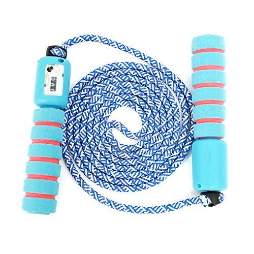 Sportplay Springseil für Kinder, integrierter Zähler, verstellbar, Kabel für Fitness, Boxen, Crossfit, Gym, Double Unders, Hellblau und Rot